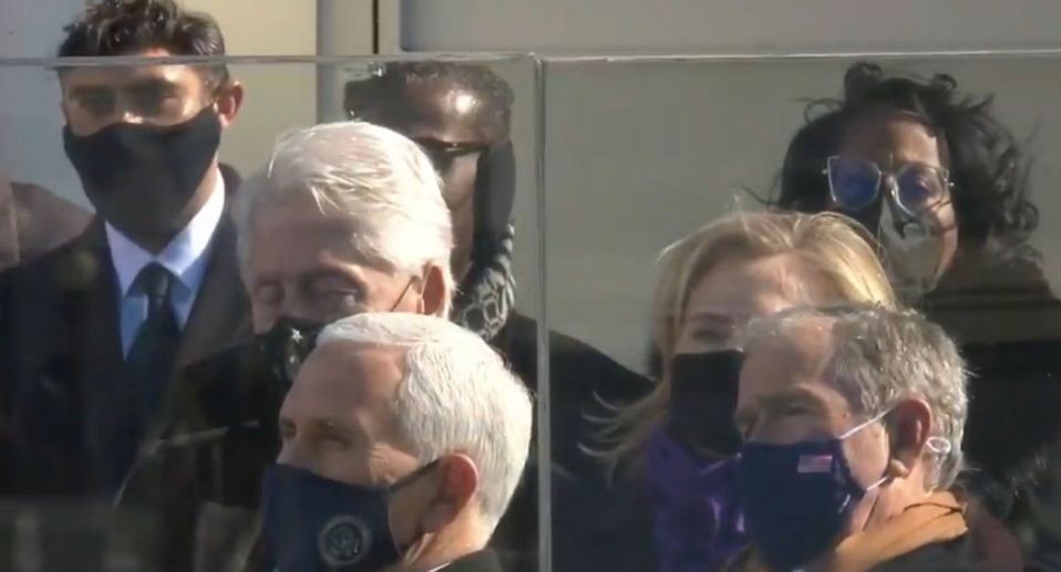 Bill Clinton appears to fall asleep during Joe Biden's inauguration speech