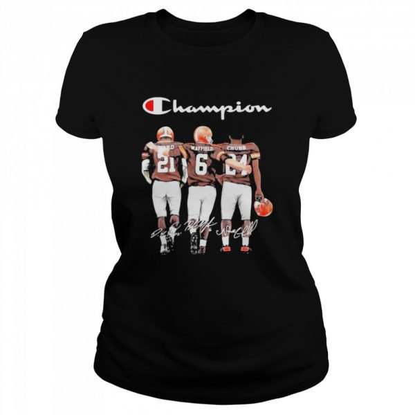 Champion Cleveland Browns Nick Chubb Baker Mayfield Signature Football  Classic Women's T-shirt