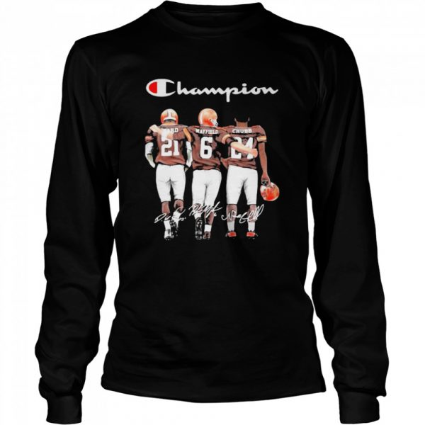 Champion Cleveland Browns Nick Chubb Baker Mayfield Signature Football  Long Sleeved T-shirt