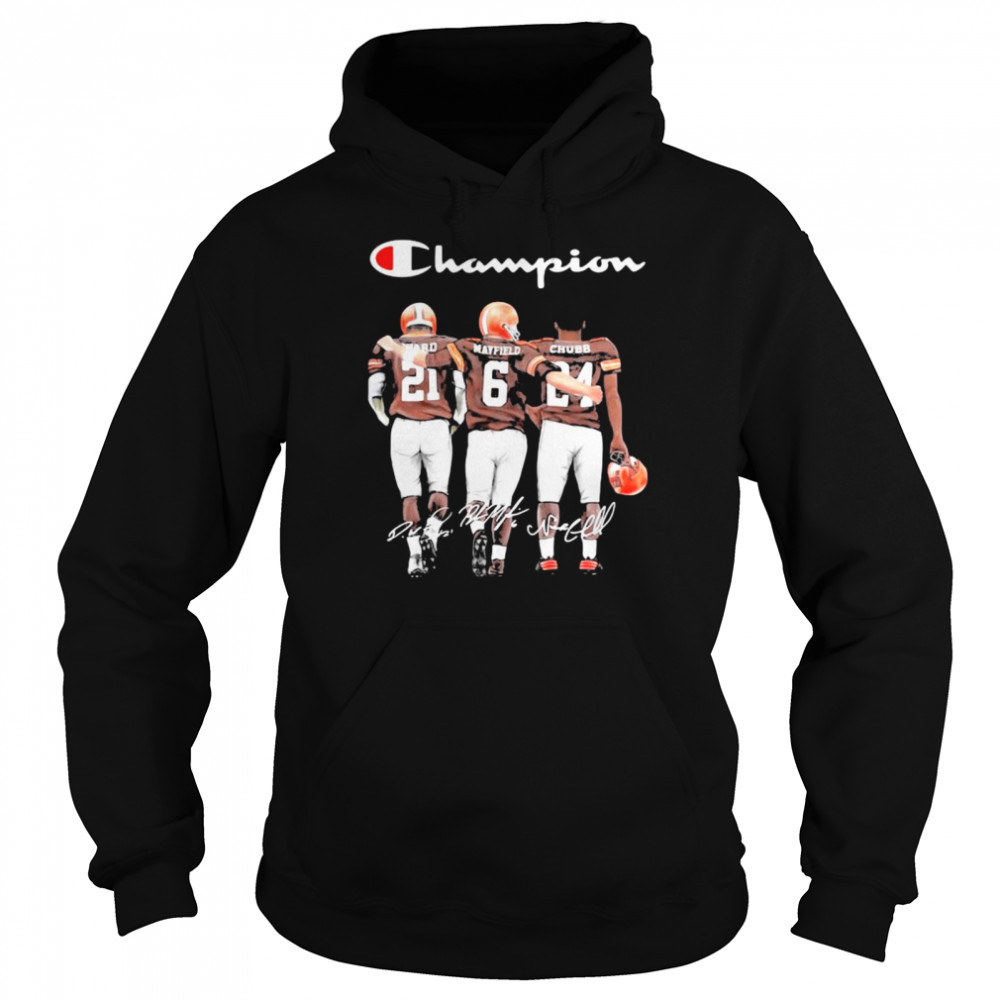 Champion Cleveland Browns Nick Chubb Baker Mayfield Signature Football Unisex Hoodie