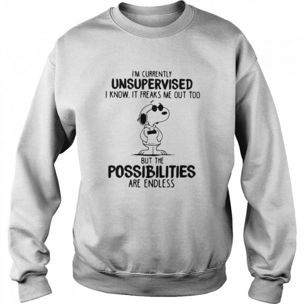 I'm Currently Unsuoervised I Know It Freaks Me Out Too But The Possibilities Are Endless Snoopy  Unisex Sweatshirt