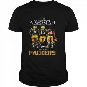 Never Underestimate A Woman Who Understands Football And Loves Packers Favre And Starr And Rogers  Classic Men's T-shirt