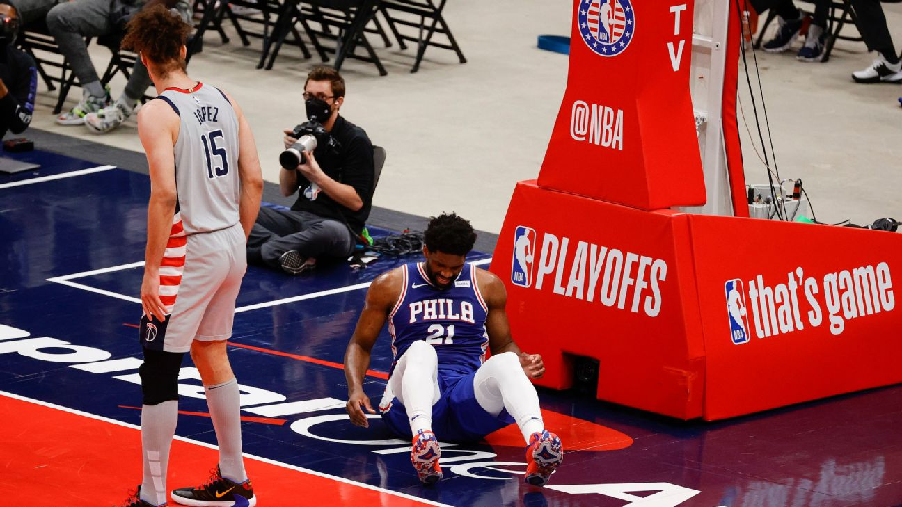 Philadelphia 76ers' Joel Embiid to have MRI after exiting Game 4 with right knee soreness