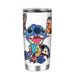 Stitch And Disney Characters Tumbler