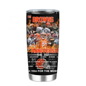 The Cleveland Browns 75th anniversary 1946 2021 thank you for the memories Tumbler